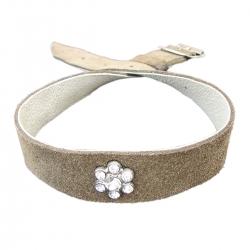 Hundehalsband braun mit einem Swarovski Stein
