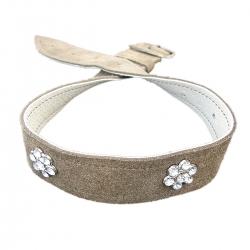 Hundehalsband braun mit zwei Swarovski Steinen
