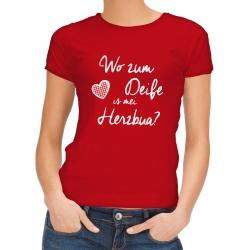 "Trachten T-Shirt rot : "" Wo zum Deife is mei Herzbua? """